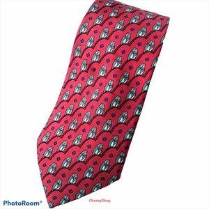HERMÈS OWL Luxury Tie Red Gray White Black Silk